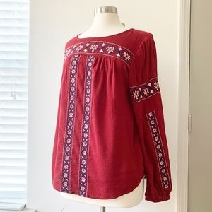 Lucky Brand Embroidered Long Sleeve Boho Top M